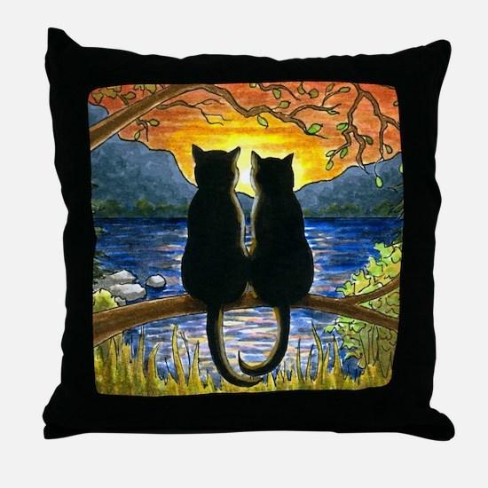 Cat 582 black cats Throw Pillow