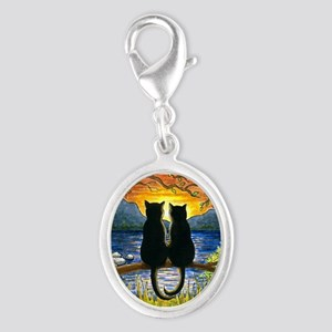 Cat 582 black cats Silver Oval Charm