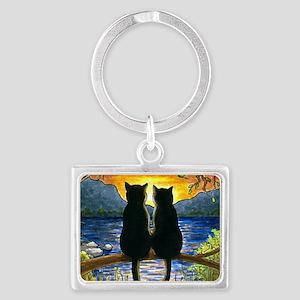 Cat 582 black cats Landscape Keychain