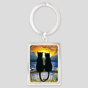 Cat 582 black cats Portrait Keychain