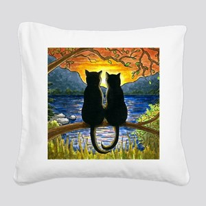 Cat 582 black cats Square Canvas Pillow