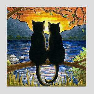 Cat 582 black cats Tile Coaster