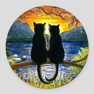 Cat 582 black cats Round Car Magnet