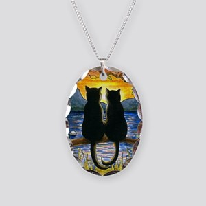 Cat 582 black cats Necklace Oval Charm