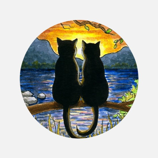 "Cat 582 black cats 3.5"" Button"