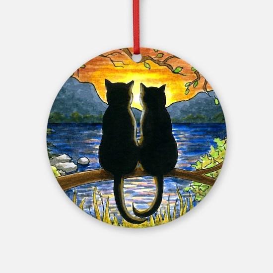 Cat 582 black cats Round Ornament