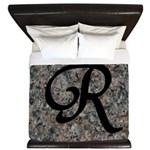 Letter R - pink and black background King Duvet