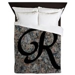 Letter R - pink and black background Queen Duvet