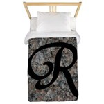 Letter R - pink and black background Twin Duvet