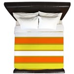 Orange Yellow and White Stripes King Duvet