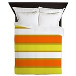 Orange Yellow and White Stripes Queen Duvet