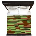 Green and Brown Spheres King Duvet