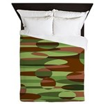 Green and Brown Spheres Queen Duvet