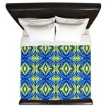 Wavy blue and yellow lines King Duvet