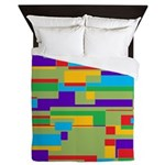 Green, red, purple, aqua and yellow geometric Quee