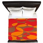 Red, Orange And Brown Elliptical Design King Duvet