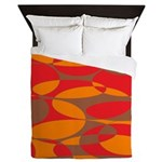 Red, Orange And Brown Elliptical Queen Duvet