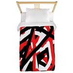 Black, Red And White Grafitti Twin Duvet Cover