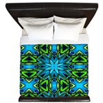 Blue and Green Stained Glass King Duvet