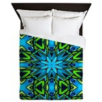 Blue and Green Stained Glass Queen Duvet