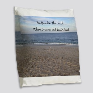Beach Heaven Burlap Throw Pillow