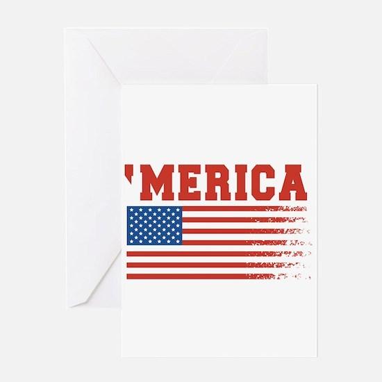 Merica Graffiti Flag 4th Of July Greeting Cards