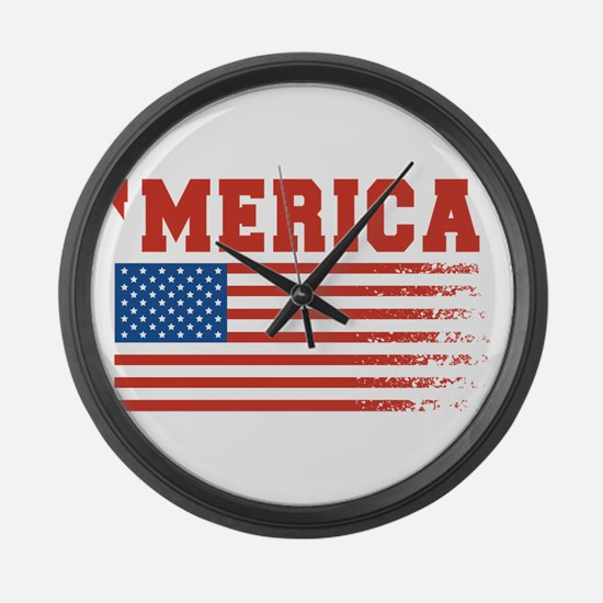 Merica Graffiti Flag 4th Of July Large Wall Clock
