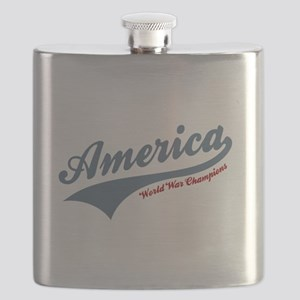 America World War Champions 4th of July Flask