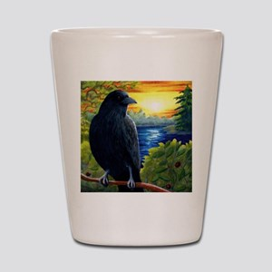 Bird 63 crow raven Shot Glass