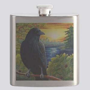 Bird 63 crow raven Flask