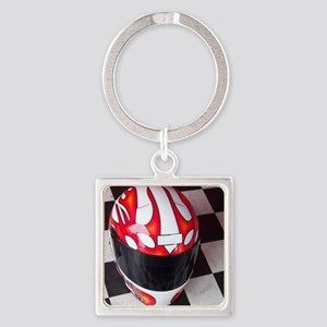Race Helmet on Checkered Flag Square Keychain