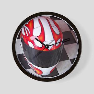 Race Helmet on Checkered Flag Wall Clock