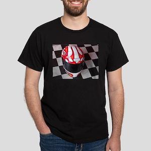 Race Helmet on Checkered Flag T-Shirt