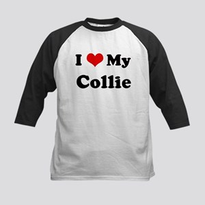 I Love Collie Kids Baseball Jersey