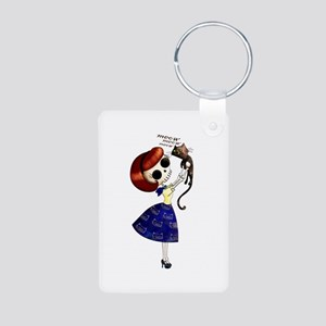 Skeleton Girl with Kitty Cat Keychains