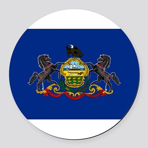 Pennsylvania Flag Round Car Magnet