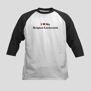 I Love Belgian Laekenois Kids Baseball Jersey