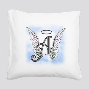Letter A Monogram Square Canvas Pillow