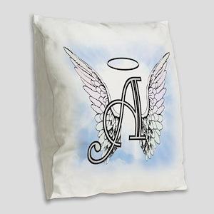 Letter A Monogram Burlap Throw Pillow