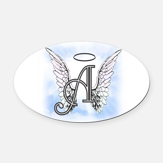 Letter A Monogram Oval Car Magnet