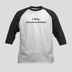 I Love American Eskimo Kids Baseball Jersey