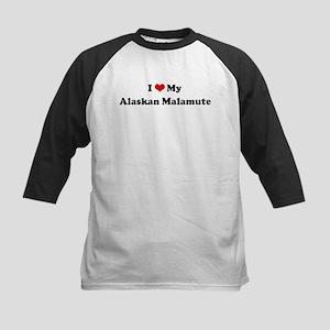 I Love Alaskan Malamute Kids Baseball Jersey