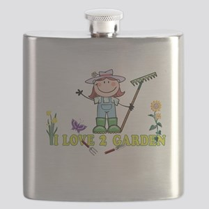 Light Girl Farmer brunette I LOVE 2 GARDEN Flask