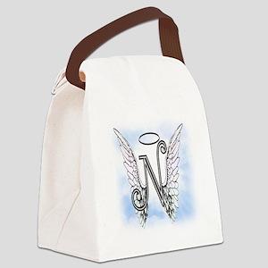 Letter N Monogram Canvas Lunch Bag