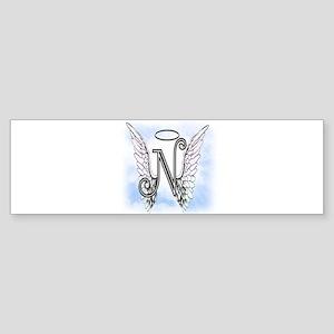 Letter N Monogram Bumper Sticker