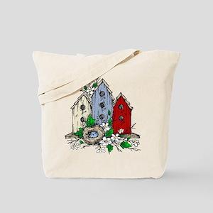 Three Birdhouses and a Nest copy Tote Bag