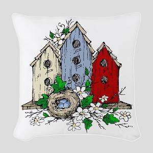 Three Birdhouses and a Nest copy Woven Throw Pillo