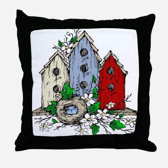 Three Birdhouses and a Nest copy Throw Pillow