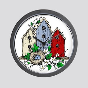 Three Birdhouses and a Nest copy Wall Clock