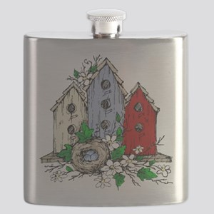 Three Birdhouses and a Nest copy Flask